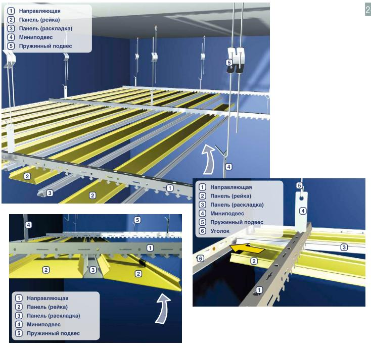 Как сделать реечный подвесной потолок